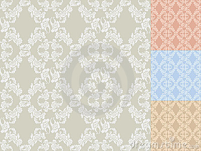 Seamless background flowers, colored set