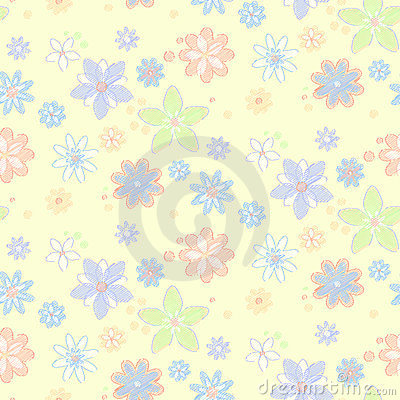 Seamless Background With Flowers, Hand-drawn Style Stock Image - Image: 23894231
