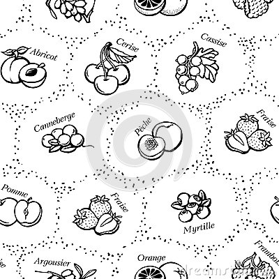 Seamless background with fruit and berries