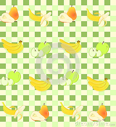Seamless background with fruit on green squares.