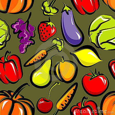 Seamless background with fruit and vegetables