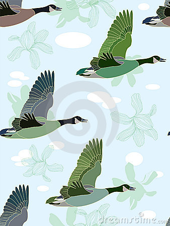 Seamless background with geese