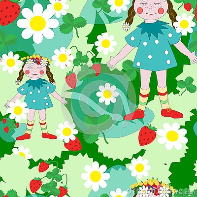 Seamless background the girl on the summer meadow Vector Illustration