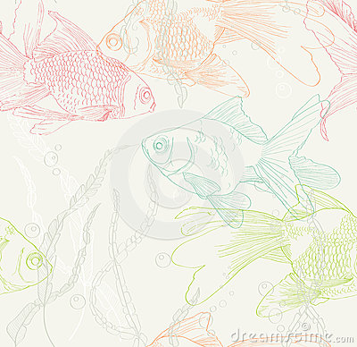 Seamless background with gold fish