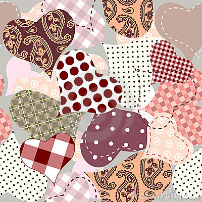 Seamless background of hearts patchwork