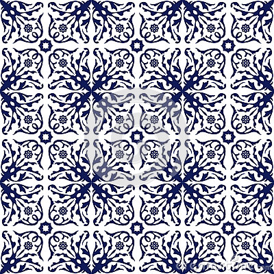 Free Seamless Background Image Of Vintage Blue Spiral Flower Vine Kaleidoscope Pattern. Stock Images - 64373784