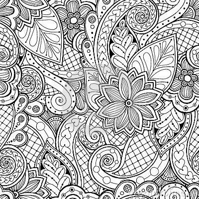 Free Seamless Background In Vector With Doodles, Flowers And Paisley. Stock Photo - 62838470