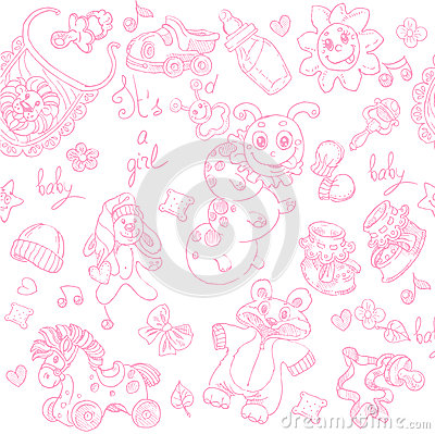 Seamless background its a girl with toys doodle