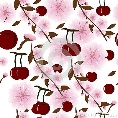 Seamless background with juicy cherries and cherry flowers Vector Illustration