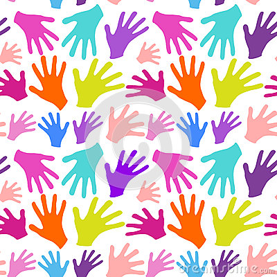 Seamless background multicolored hands