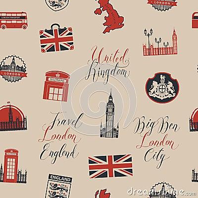 Free Seamless Background On Theme Of UK And London Stock Image - 111093451