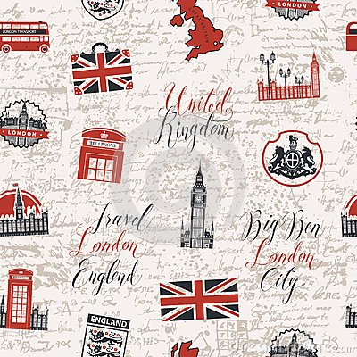 Free Seamless Background On Theme Of UK And London Stock Images - 111093594