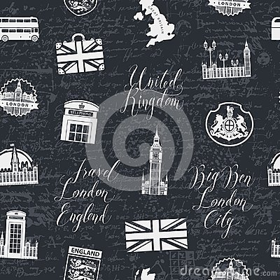 Free Seamless Background On Theme Of UK And London Stock Photos - 111093923