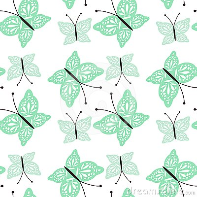 Seamless background with openwork butterflies