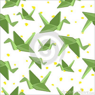 Seamless background with paper cranes Vector Illustration