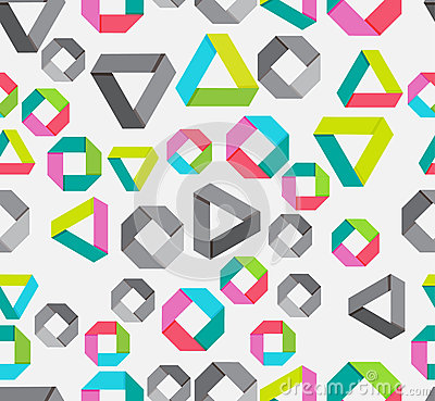 Seamless background with paper geometrical figures
