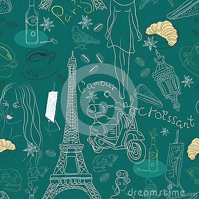 Seamless background with Paris doodles