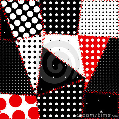 Seamless background of patchwork polka dot