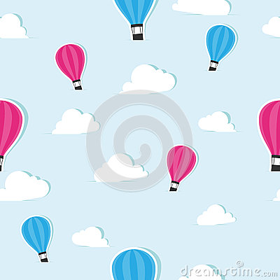 Seamless background pattern with air balloons