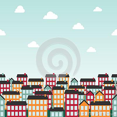 Seamless background pattern with colorful town