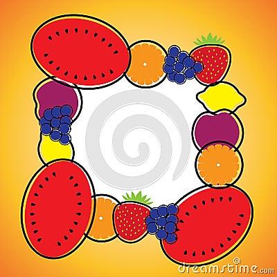 Seamless background pattern- melon,orange,grapes,lemon & plum