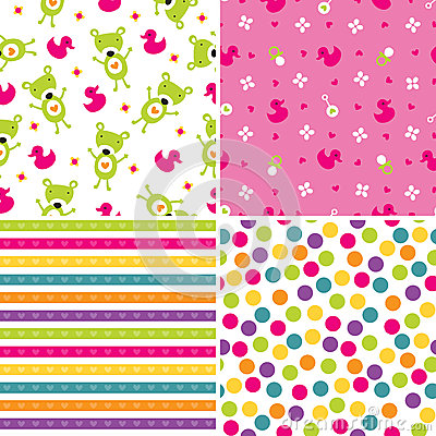 Free Seamless Background Patterns In Pink And Green Royalty Free Stock Photo - 36422745