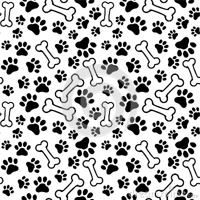 Seamless Background Pet Paw Print Bone Vector Bones on print border