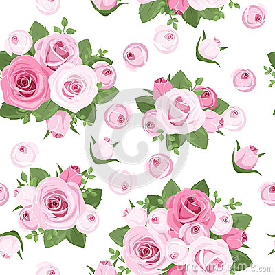 Vector seamless background with roses.