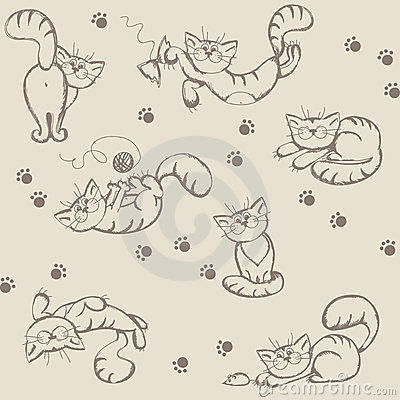 Seamless background with playful cats