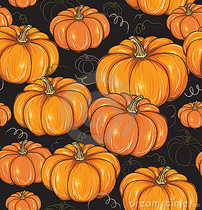 Seamless background with pumpkins