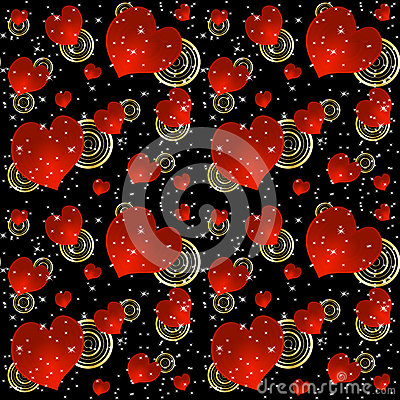 Seamless background with red hearts and stars