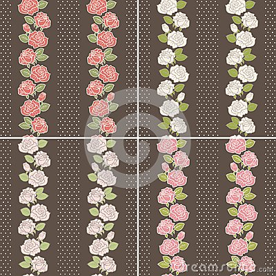 Seamless background set of vintage flowers