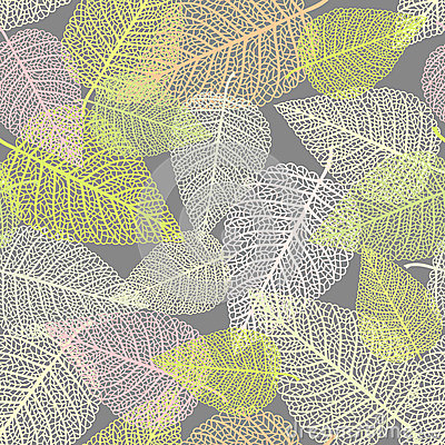 Seamless background with skeletons of leaves