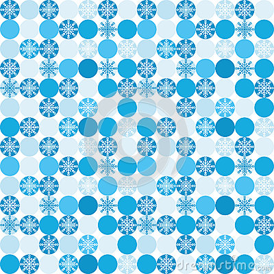 Seamless background with snowflakes in circles