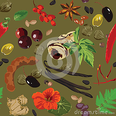 Seamless background with spices