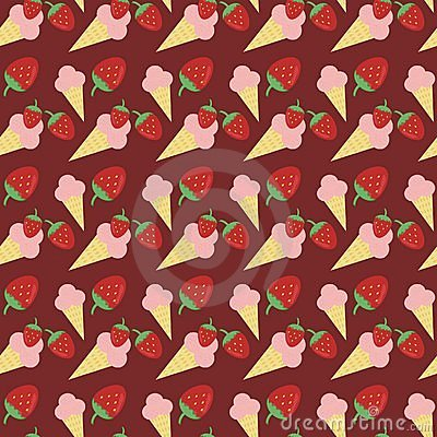 Seamless background with strawberry ice cream