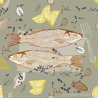 Seamless Background with fish dish