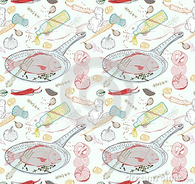 Seamless Background with taste Fish dish