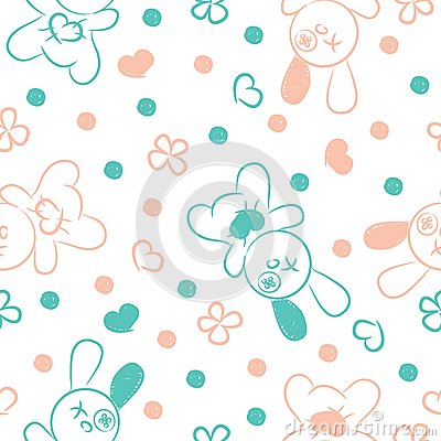 Seamless background with toys and hearts.