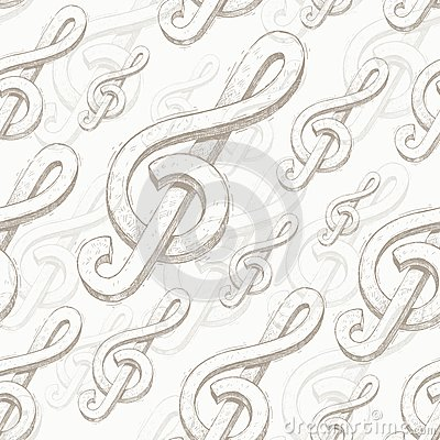 Seamless background with treble clef
