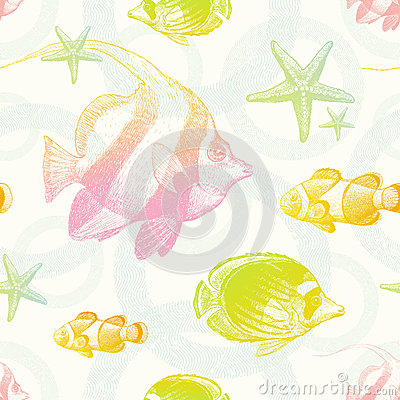 Seamless background with tropical fishes
