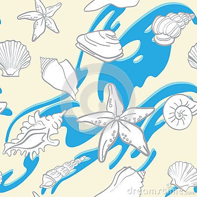 Seamless background underwater tropical fauna