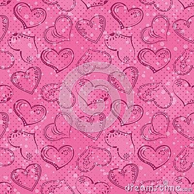 Seamless background, Valentine hearts