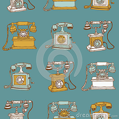 Seamless Background with Vintage Telephones