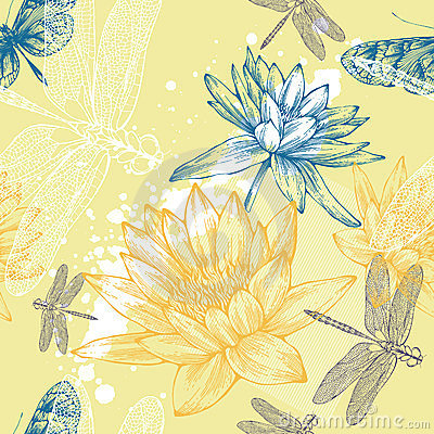 Seamless background with water lilies, dragonflies