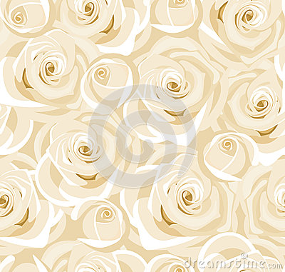 Seamless background with white roses and buds.