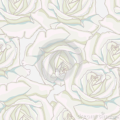 Seamless background. White roses.