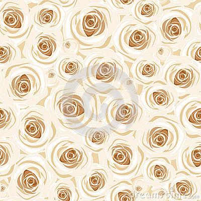 Seamless background with white roses. Vector illus
