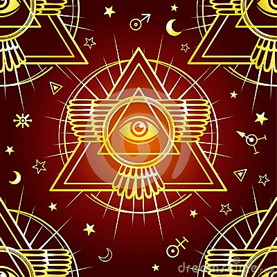 Free Seamless Background: Winged Pyramid, All-seeing Eye. Space Symbols. Esoteric, Mysticism, Occultism. Royalty Free Stock Photo - 110111295