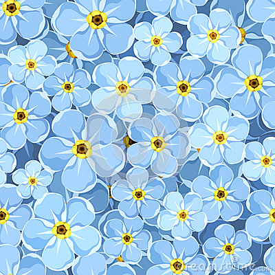 Free Seamless Background With Blue Forget-me-not Flowers. Vector Illustration. Royalty Free Stock Image - 54474066